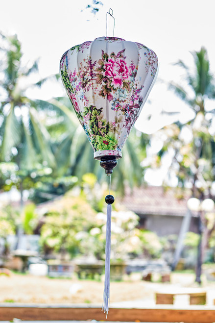 100% Handmade Wild Rose patterned Silk Lantern in Large Teardrop style, the symbol of Hoi An. Perfect Decoration for Indoor or Outdoor use.