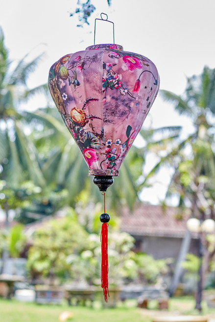 100% Handmade Pink Abstract Floral patterned Silk Lantern in Large Teardrop style, the symbol of Hoi An. Perfect Decoration for Indoor or Outdoor use.