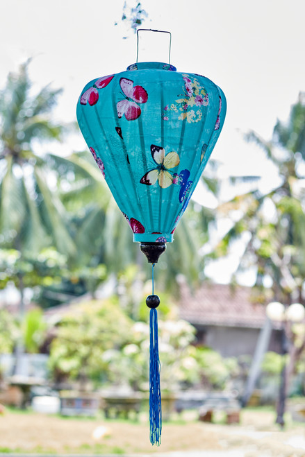 100% Handmade Teal with Butterflies patterned Silk Lantern in Large Teardrop style, the symbol of Hoi An. Perfect Decoration for Indoor or Outdoor use.