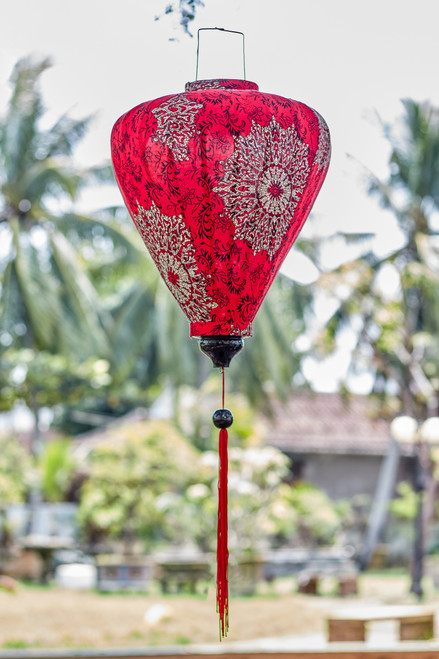 100% Handmade Red Paisley Mandala patterned Silk Lantern in Large Teardrop style, the symbol of Hoi An. Perfect Decoration for Indoor or Outdoor use.