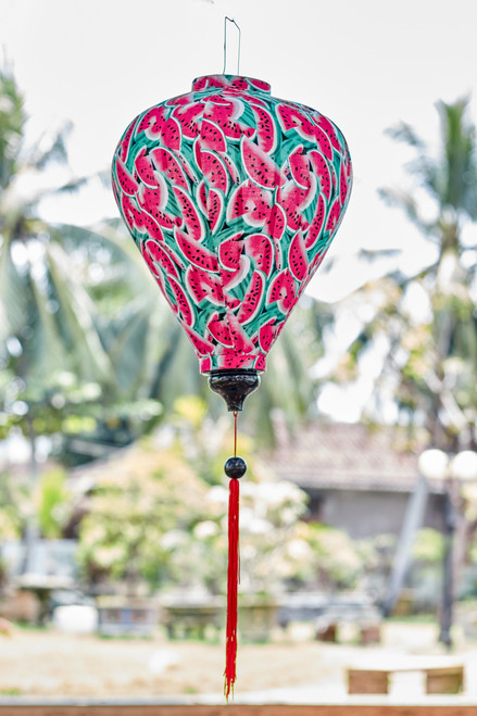100% Handmade Watermelon patterned Silk Lantern in Large Teardrop style, the symbol of Hoi An. Perfect Decoration for Indoor or Outdoor use.