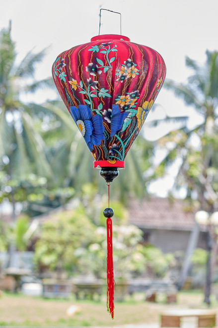 100% Handmade Blue and Yellow Wild Rose patterned Silk Lantern in Large Teardrop style, the symbol of Hoi An. Perfect Decoration for Indoor or Outdoor use.