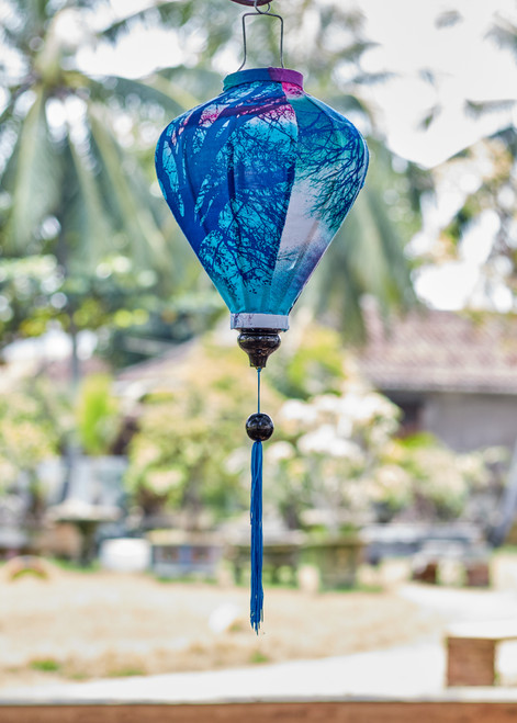 100% Handmade Sunset Branches patterned Silk Lantern in Medium Teardrop style, the symbol of Hoi An. Perfect Decoration for Indoor or Outdoor use.