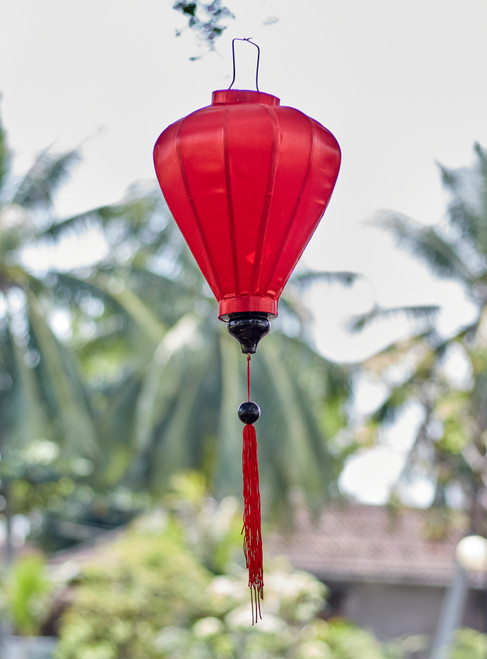 100% Handmade Solid Glossy Red patterned Silk Lantern in Medium Teardrop style, the symbol of Hoi An. Perfect Decoration for Indoor or Outdoor use.
