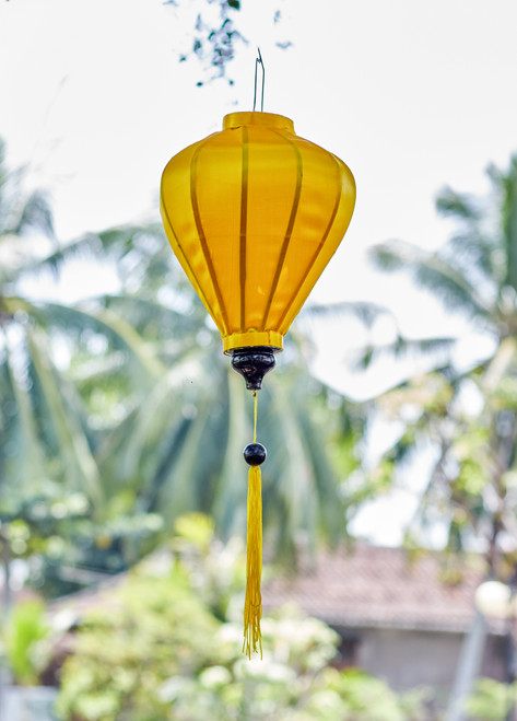 100% Handmade Solid Glossy Yellow patterned Silk Lantern in Medium Teardrop style, the symbol of Hoi An. Perfect Decoration for Indoor or Outdoor use.