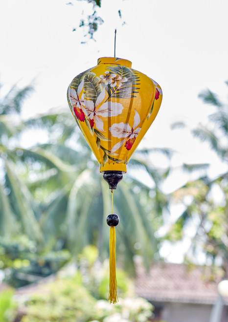 100% Handmade Yellow Wildflower patterned Silk Lantern in Medium Teardrop style, the symbol of Hoi An. Perfect Decoration for Indoor or Outdoor use.