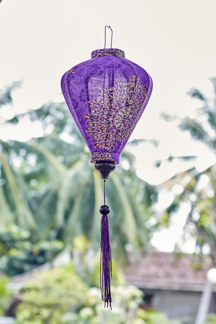 100% Handmade Purple Paisley Mandala patterned Silk Lantern in Medium Teardrop style, the symbol of Hoi An. Perfect Decoration for Indoor or Outdoor use.