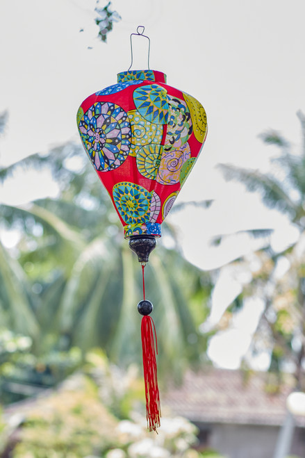 100% Handmade Red Funky Abstract patterned Silk Lantern in Medium Teardrop style, the symbol of Hoi An. Perfect Decoration for Indoor or Outdoor use.