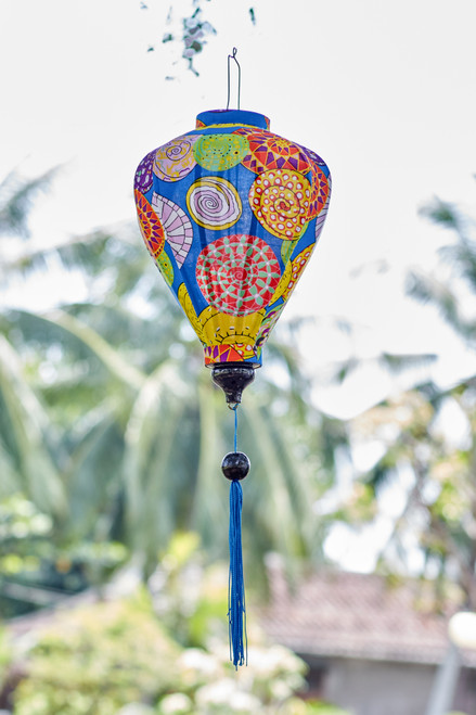 100% Handmade Blue Funky Abstract patterned Silk Lantern in Medium Teardrop style, the symbol of Hoi An. Perfect Decoration for Indoor or Outdoor use.
