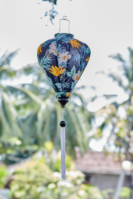 100% Handmade Dark Blue Hibiscus patterned Silk Lantern in Medium Teardrop style, the symbol of Hoi An. Perfect Decoration for Indoor or Outdoor use.