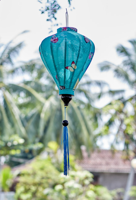 100% Handmade Teal with Butterflies patterned Silk Lantern in Medium Teardrop style, the symbol of Hoi An. Perfect Decoration for Indoor or Outdoor use.