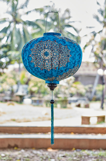 100% Handmade Teal Abstract Floral patterned Silk Lantern in Small Round style, the symbol of Hoi An. Perfect Decoration for Indoor or Outdoor use.