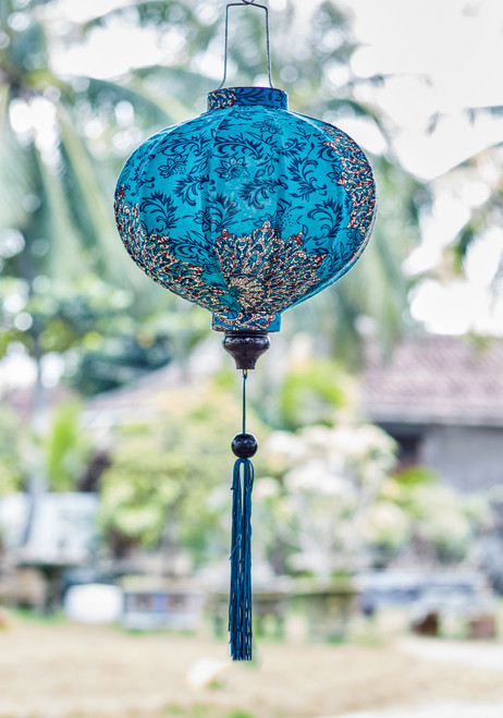 100% Handmade Blue Paisley Mandala patterned Silk Lantern in Medium Round style, the symbol of Hoi An. Perfect Decoration for Indoor or Outdoor use.