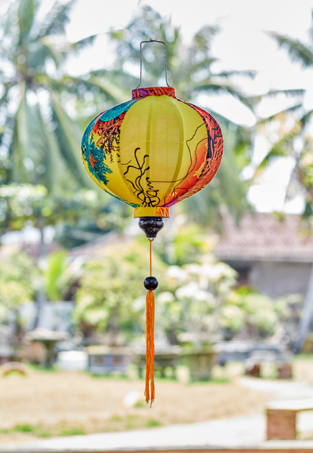 100% Handmade Sunset Abstract Floral patterned Silk Lantern in Medium Round style, the symbol of Hoi An. Perfect Decoration for Indoor or Outdoor use.