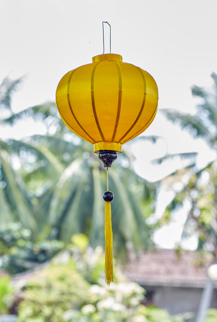 100% Handmade Solid Glossy Yellow patterned Silk Lantern in Medium Round style, the symbol of Hoi An. Perfect Decoration for Indoor or Outdoor use.