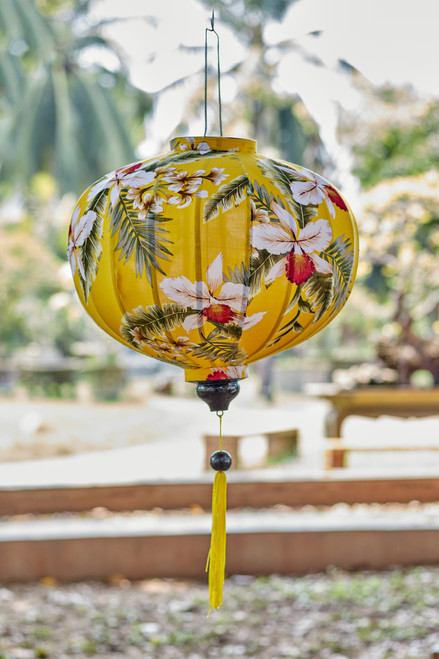 100% Handmade Yellow Wildflower patterned Silk Lantern in Large Round style, the symbol of Hoi An. Perfect Decoration for Indoor or Outdoor use.