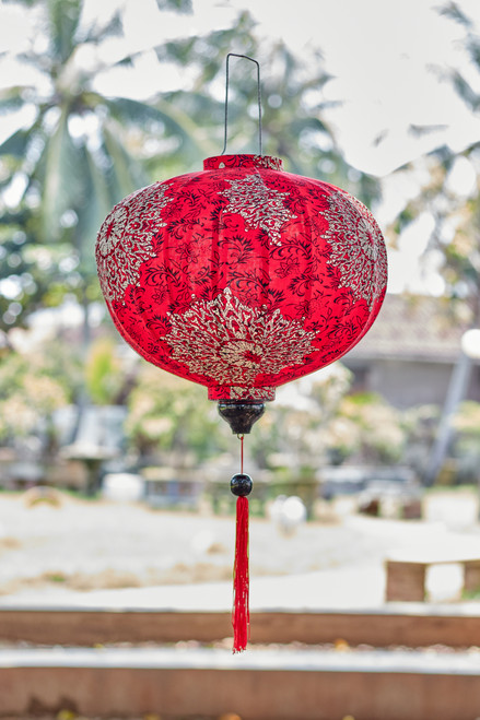 100% Handmade Red Paisley Mandala patterned Silk Lantern in Large Round style, the symbol of Hoi An. Perfect Decoration for Indoor or Outdoor use.