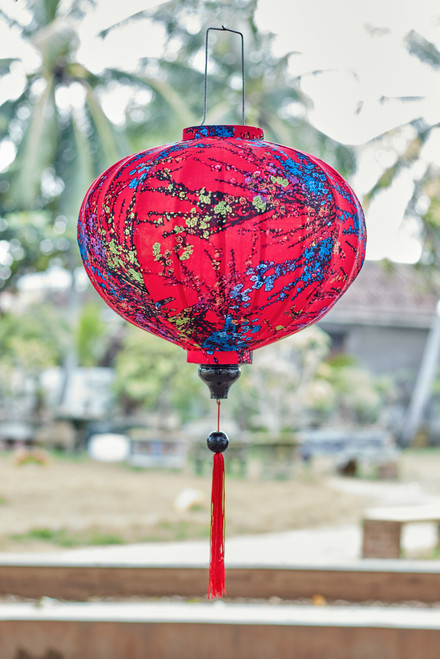 100% Handmade Red Cherry Blossom patterned Silk Lantern in Large Round style, the symbol of Hoi An. Perfect Decoration for Indoor or Outdoor use.