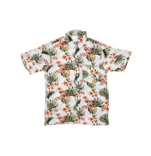 100% Handmade Orange Flower patterned Fruit Suit Shirt. Hilariously loud, yet cool, cheap, fun and easy to wear. Get some for the whole group!