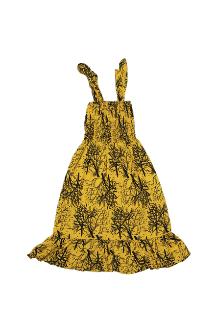 100% Handmade Yellow Deadwood patterned Fruit Suit Dress. Hilariously loud, yet cool, cheap, fun and easy to wear. Get some for the whole group!