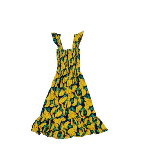 100% Handmade Yellow Tropical patterned Fruit Suit Dress. Hilariously loud, yet cool, cheap, fun and easy to wear. Get some for the whole group!