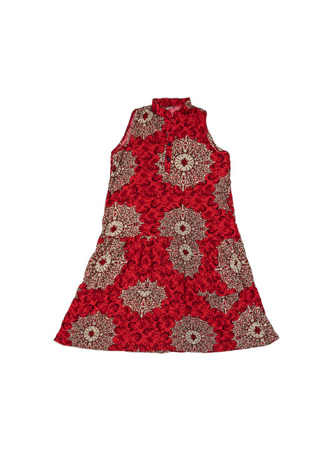 100% Handmade Red Circular patterned Fruit Suit Dress. Hilariously loud, yet cool, cheap, fun and easy to wear. Get some for the whole group!