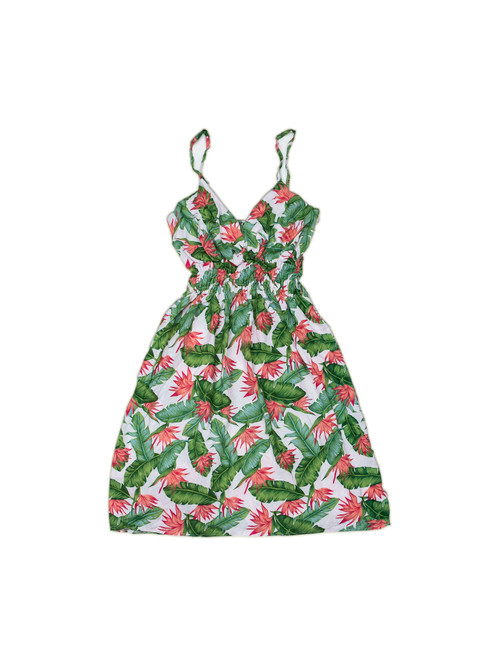 100% Handmade Small Strelitzia patterned Fruit Suit Dress. Hilariously loud, yet cool, cheap, fun and easy to wear. Get some for the whole group!