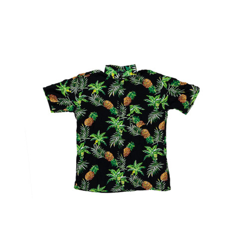 100% Handmade Pineapple on Black Fruit Suit Shirt. Hilariously loud, yet cool, cheap, fun and easy to wear. Get some for the whole group!
