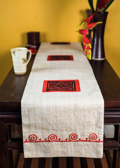 Hand-loomed from natural hemp, and decorated with the symbolic Ram's horn motif symbolizing Wisdom, this bed or table runner is ethically sourced from Hmong artisans in northern Vietnam.