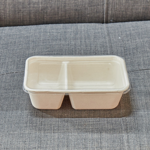 Two compartment food tray made from 100% compostable Bagesse, no lid