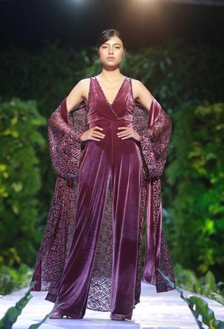 Long Evening Lace Robe over Velvet Jumpsuit