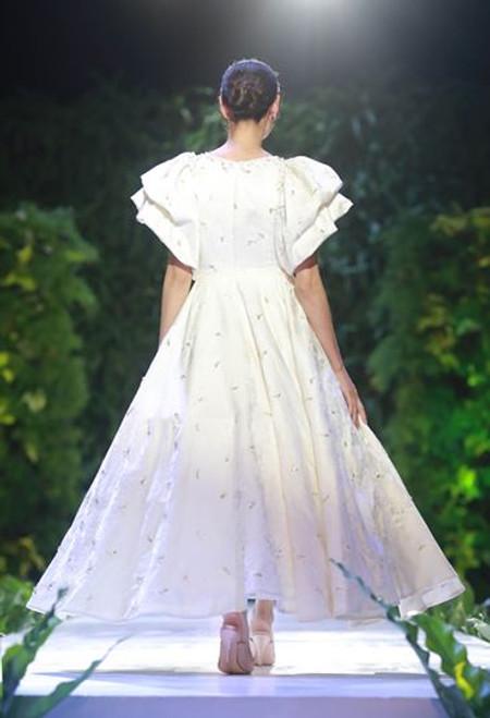Brocade Mid Length Dress with Ruffled Sleeves