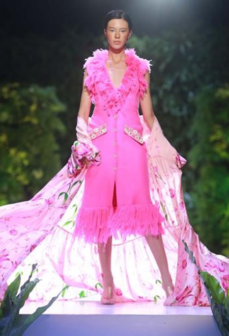 Fringing Pink Tweed Printed Silk Shirt Dress