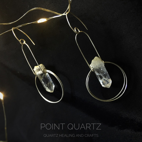 Silver 950 wire wrapped Quartz Crystal Point Earrings