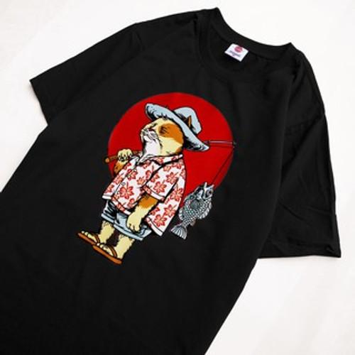 Cotton T-shirt Cat Fishing
