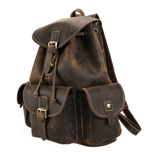 Stylish Leather Backpack - Unisex
