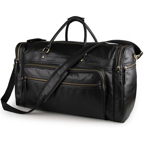 Luxurious Black Leather Travel Bag - Unisex