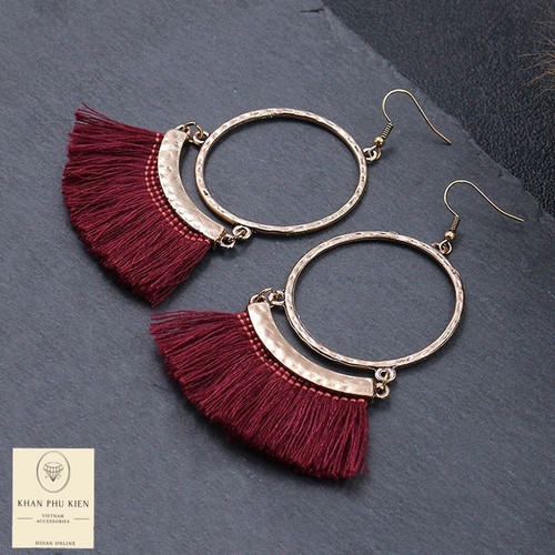 Bohemian earrings - Circle sole with tassels