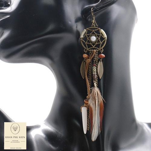 Bohemian earrings -  Long brown form