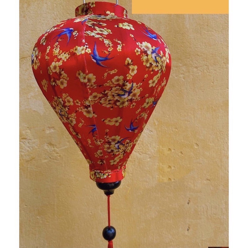 Classic Red Silk Lantern in Large with Flower and Bird Pattern