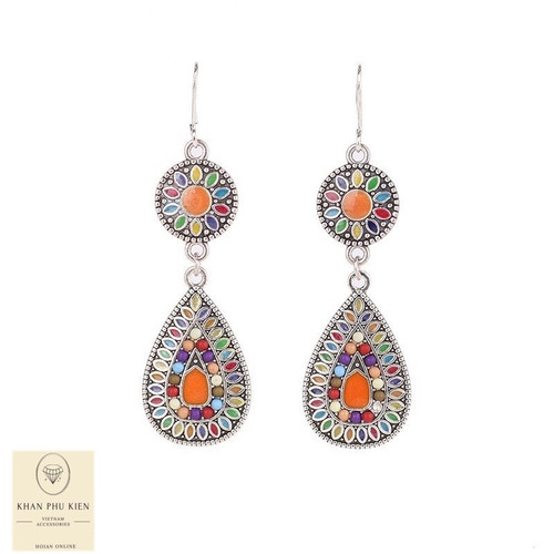 Bohemian earrings - Circle and droplet