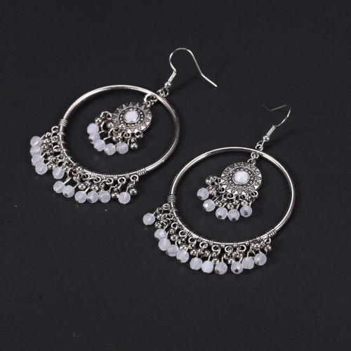 Bohemian earrings - White blonde circle sole