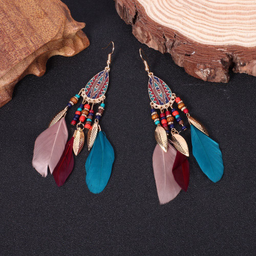 Bohemian earrings - Ellipse sole with colourful feather
