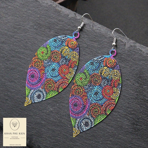 Bohemian earrings - Colourful leaf