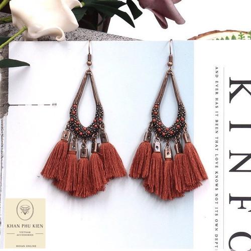 Bohemian earrings - Ellipse with brown tassels