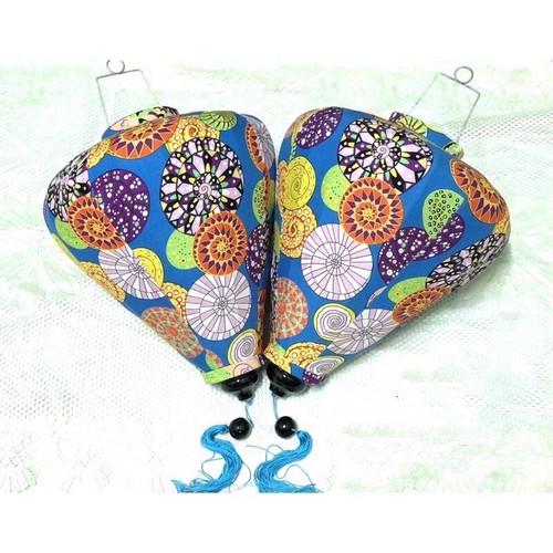 Blue Silk Lantern with Henna Pattern - Teardrop Shape