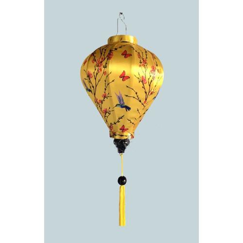 Bird and Butterfly Yellow Silk Lantern  - Teardrop Style