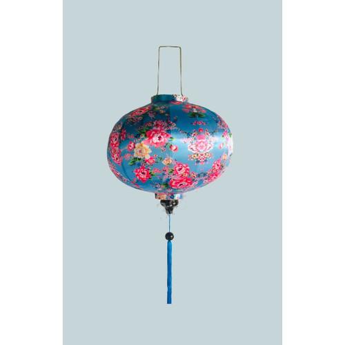 Luxurious Blue Flowery Silk Lantern