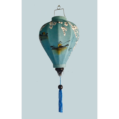 Traditional Hoian Silk Lantern with Boat Picture - Teardrop shape