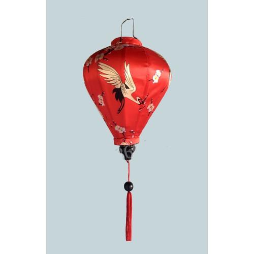 Red Silk Hoian Lantern with Jabiru Pattern
